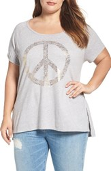 Lucky Brand Plus Size Women's Foil Peace Graphic Tee
