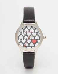 Johnny Loves Rosie Heart Dial Watch Black