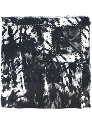 Roberto Cavalli Fringed Animal Print Scarf Black