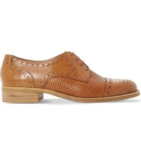 Dune Finchly Leather Weave Embossed Brogues Tan Leather
