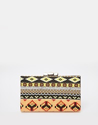 Liquorish Aztec Print Box Clutch Bag Multi