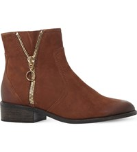 Steve Madden Chance Zip Detail Leather Ankle Boots Taupe Leather