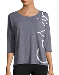 Calvin Klein Three Quarter Sleeve Performance Top Black Heather White