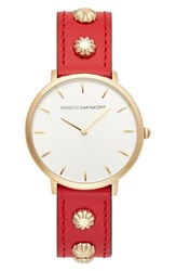 Rebecca Minkoff Major Stud Leather Strap Watch 35Mm Red Silver Gold