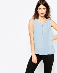 Y.A.S Sleeveless Top With Zip Neck Mint