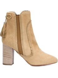 Aquazzura Tassel Detail Boots Nude And Neutrals