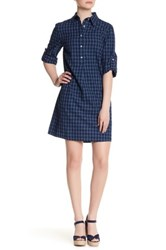Max Studio Collared Shirt Dress Blue