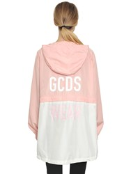 Gcds Hooded Zip Off Anorak Jacket Pink White