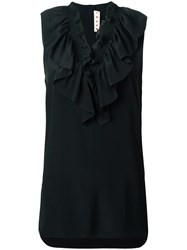 Marni Ruffle Neck Top Black
