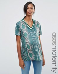 Asos Maternity T Shirt In Bright Snake Print With Stripe Tipping In Longline Multi