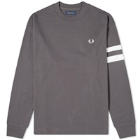 Fred Perry Authentic Engineered Stripe Crew Sweat Grey