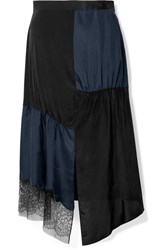 Tibi Paneled Lace Trimmed Satin Twill And Crepe De Chine Midi Skirt Midnight Blue