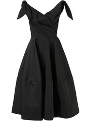 Christian Siriano Off The Shoulder Flared Dress Black
