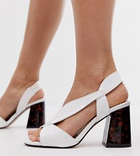 River Island Wide Fit Block Sandals With Crossover Strap In White
