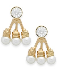 Bar Iii Gold Tone Crystal And Faux Pearl Ear Jackets