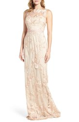 Adrianna Papell Women's Sleeveless Embroidered Tulle Gown