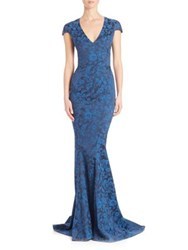 Zac Posen Party Jacquard Cap Sleeve Mermaid Gown Royal Blue