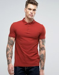 Asos Muscle Pique Polo Shirt In Red With Button Down Collar Blood Orange