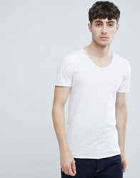 Tom Tailor Scoop Neck T Shirt With Raw Hem In White