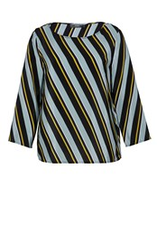 Hallhuber Silk Top With Diagonal Stripes Multi Coloured Multi Coloured
