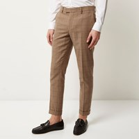 River Island Mens Camel Check Skinny Cropped Trousers