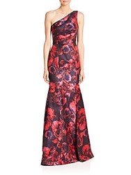 Theia One Shoulder Floral Jacquard Gown Pink Navy
