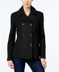 Celebrity Pink Double Breasted Peacoat Jet Black