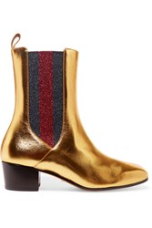Gucci Metallic Leather And Textured Lame Chelsea Boots Gold