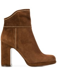 L'autre Chose High Heeled Ankle Boots Brown