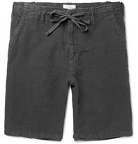 Hartford Slub Linen Drawstring Shorts Gray