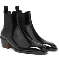 Tom Ford Webster Patent Leather Chelsea Boots Black