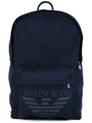 Armani Jeans Branded Backpack Men Cotton Polyurethane One Size Blue