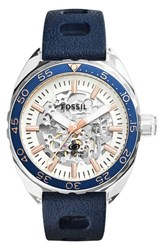 Fossil 'Breaker' Skeleton Dial Silicone Strap Watch 47Mm