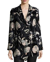 Haute Hippie Bond Floral Velour Blazer Solitaire Burnout
