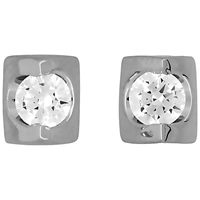 Jools By Jenny Brown Rhodium Plated Cubic Zirconia Stud Earrings
