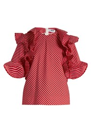 Msgm Ruffle Trimmed Striped Cotton Top Red Stripe