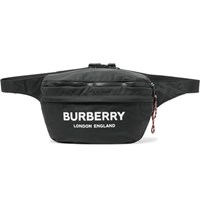 Burberry Logo Print Convertible Canvas And Shell Belt Bag Black