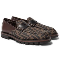 Fendi Logo Print Rubber And Leather Loafers Brown