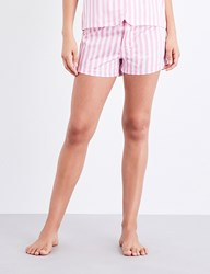 Bodas St Moritz Cotton Pyjama Shorts Candy Pink White Stripe