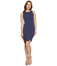 Kensie Lightweight Viscose Spandex Dress And Side Slit Ks6k7219 True Navy Combo Women's Dress Multi