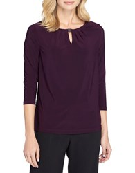 Tahari By Arthur S. Levine Ruched Neck Knitted Top Plum