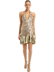 Roberto Cavalli Sequined Tulle Dress Nude Gold