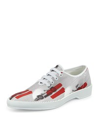 Prada Runway Racecar Lace Up Sneaker White Red Men's Size 10 11.0Us