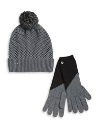 Ugg Pom Pom Wool Blend Hat And Smart Gloves Set Black