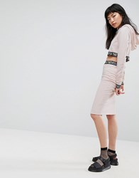 Cheats And Thieves Midi Skirt With Logo Waistband Pink