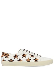 Saint Laurent 20Mm Court Ponyskin And Leather Sneakers White Leopard