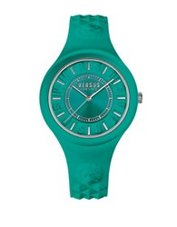 Versus By Versace Fire Island Stainless Steel Silicone Strap Watch Soq070016 Teal