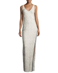 Halston Sleeveless Sequined Gown Gray Pattern