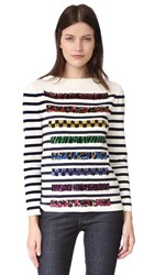 Marc Jacobs Long Sleeve Boat Neck Sweater Navy Off White