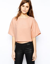 Asos Crop Top With Boxy Kimono Sleeve Nude
